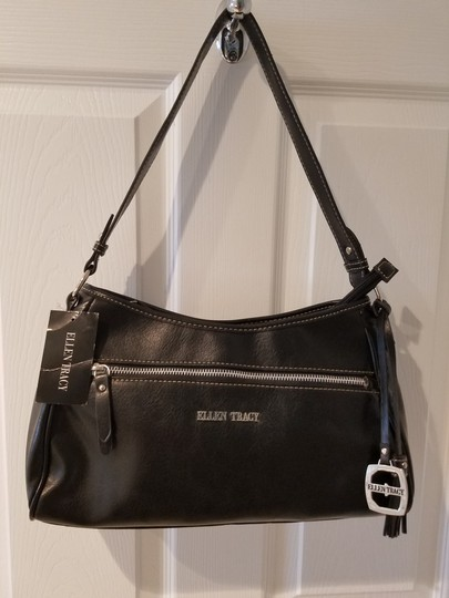 Ellen Tracy Faux Leather Silver Hardware Chic Soft Hobo Bag Image 2