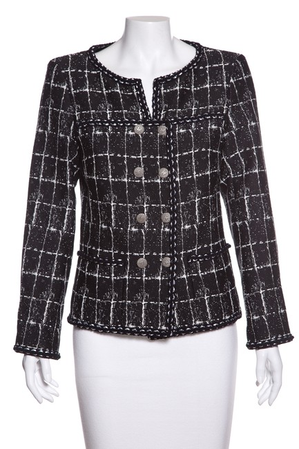 Item - Black & White Woven Check Pattern Jacket Size 10 (M)