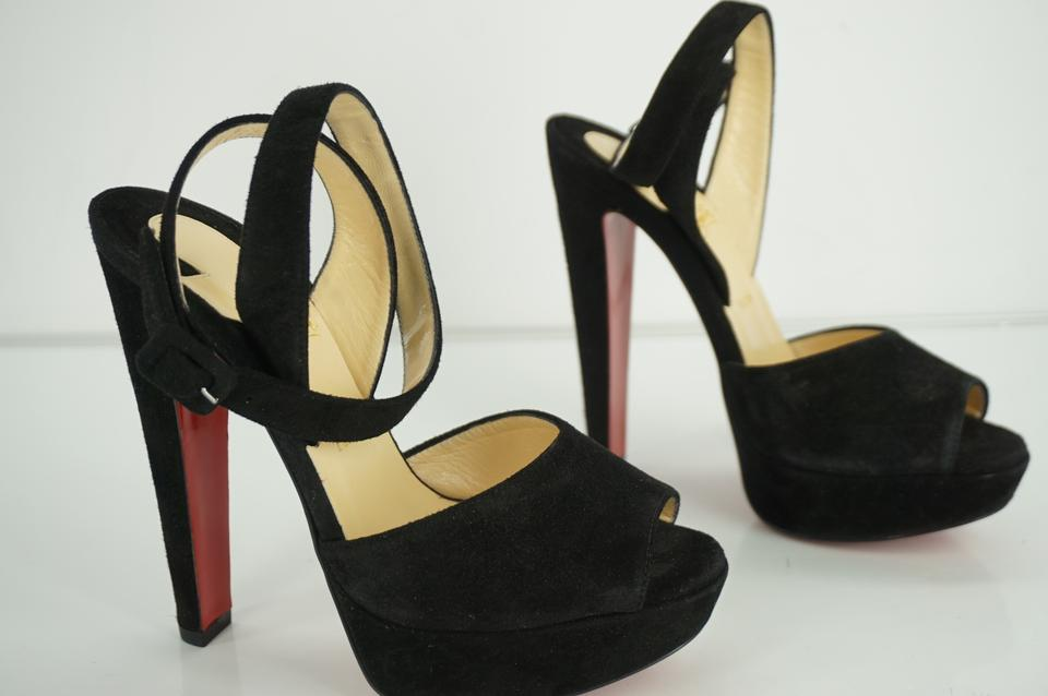 2e364ca3002 Christian Louboutin Black Suede Loulou Dancing Wrap Ankle Strappy Sandals  Platforms Size EU 36.5 (Approx. US 6.5) Regular (M, B) 36% off retail