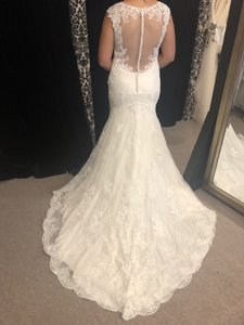 Maggie Sottero Ivory Over Champagne Lace Tilda Modest Wedding Dress Size 14 (L)
