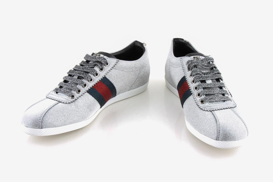 9db4451de82 Gucci Silver Glitter Web Sneaker with Studs Shoes Image 0 ...