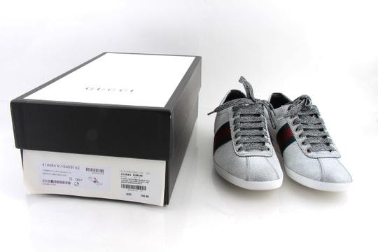 Gucci Silver Glitter Web Sneaker with Studs Shoes Image 11