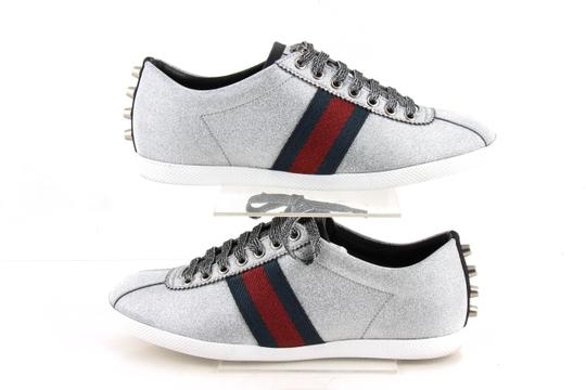 Gucci Silver Glitter Web Sneaker with Studs Shoes Image 3