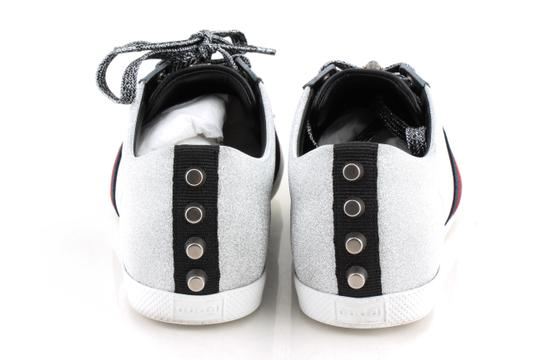 Gucci Silver Glitter Web Sneaker with Studs Shoes Image 4