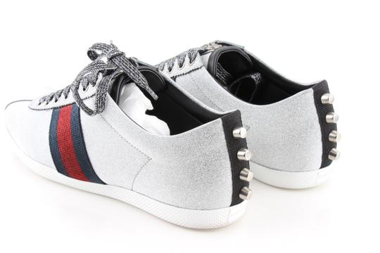 Gucci Silver Glitter Web Sneaker with Studs Shoes Image 6