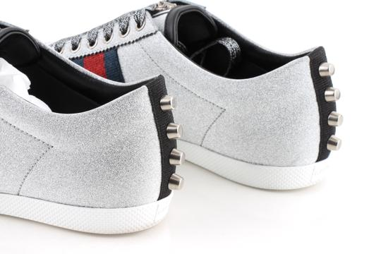 Gucci Silver Glitter Web Sneaker with Studs Shoes Image 7