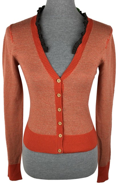 Preload https://img-static.tradesy.com/item/24124928/anthropologie-orange-industry-striped-cardigan-size-8-m-0-1-650-650.jpg
