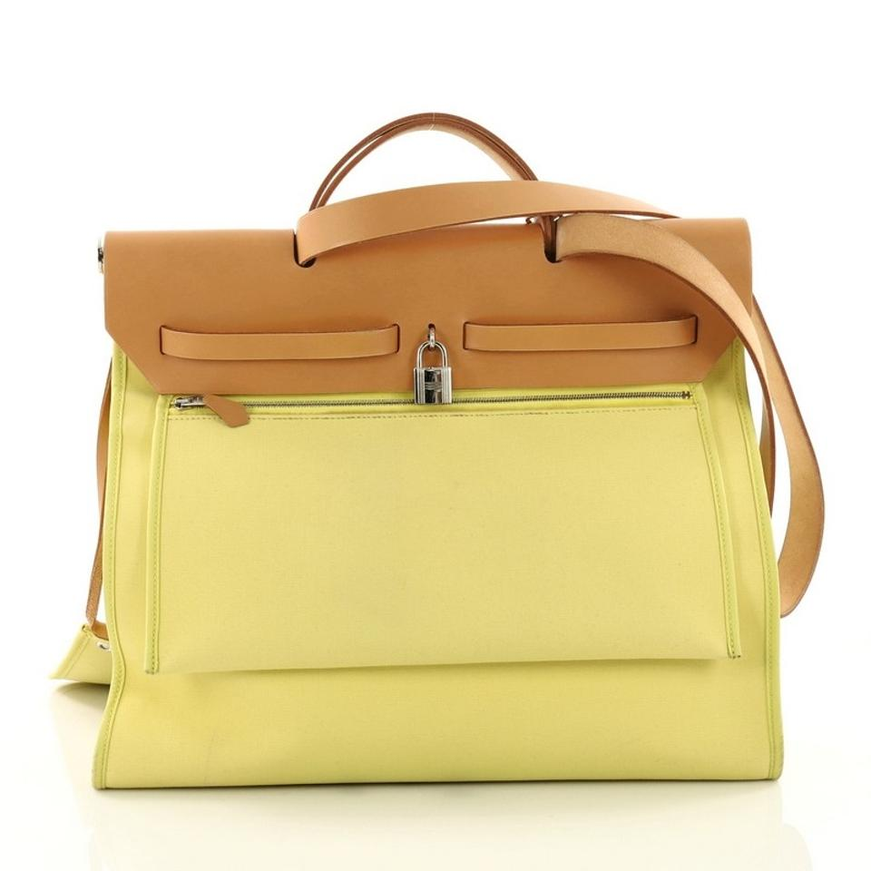 703f26f6227e Hermès Herbag Zip Leather and 39 Yellow Toile Tote - Tradesy