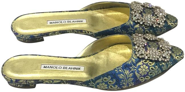 Item - Blue Embroidered Satin Hangisi Mules/Slides Size EU 36 (Approx. US 6) Regular (M, B)