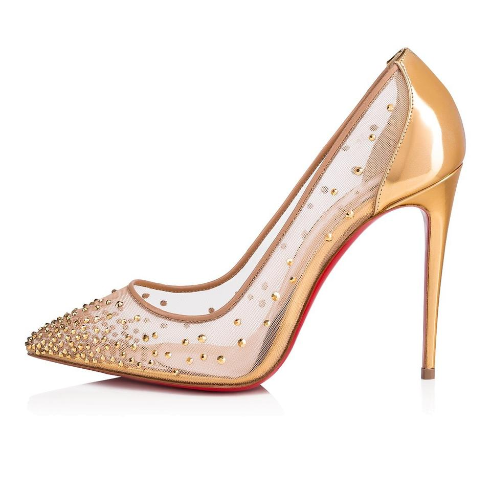 737fee1c12b Christian Louboutin Gold New Follies Strass 100 Illusion 36 Pumps ...