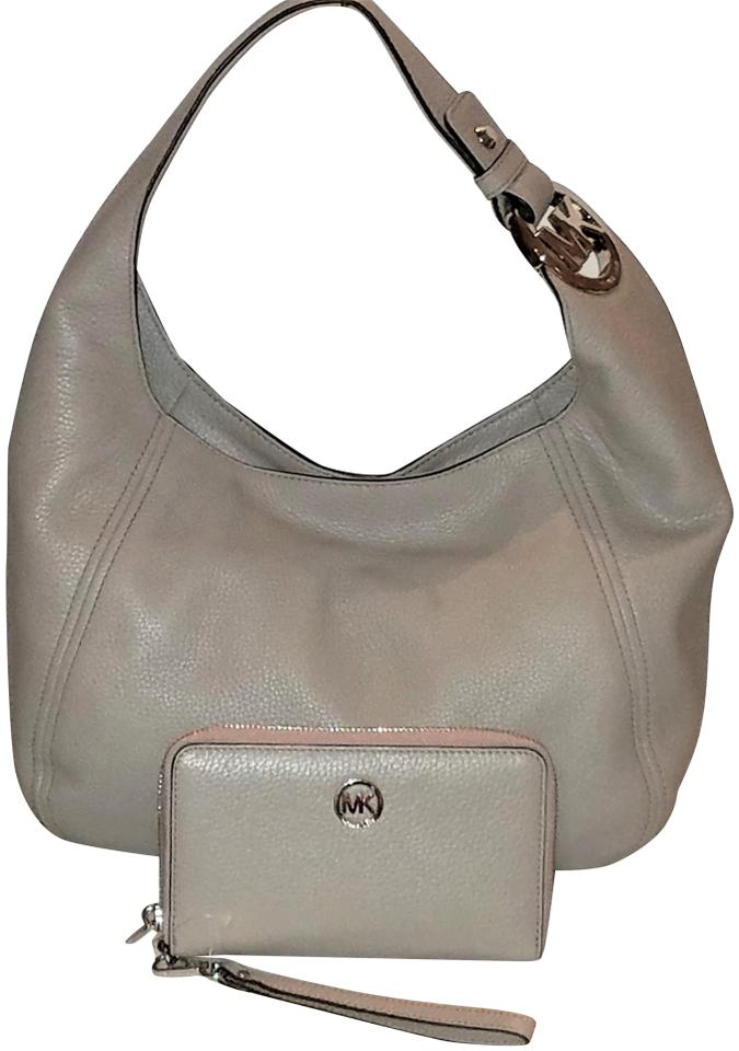 Michael Kors New 2 Pcs Fulton Lrg Wallet Hobo Gray Leather