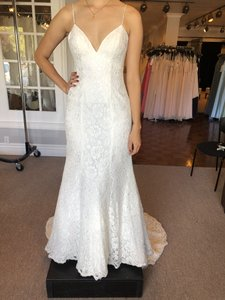 Mori Lee Ivory Lace 6863 Modern Wedding Dress Size 10 (M)