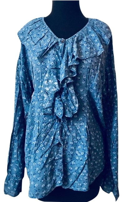 Nordstrom Boho Bohemian New York Ruffle Button Down Shirt blue Image 0