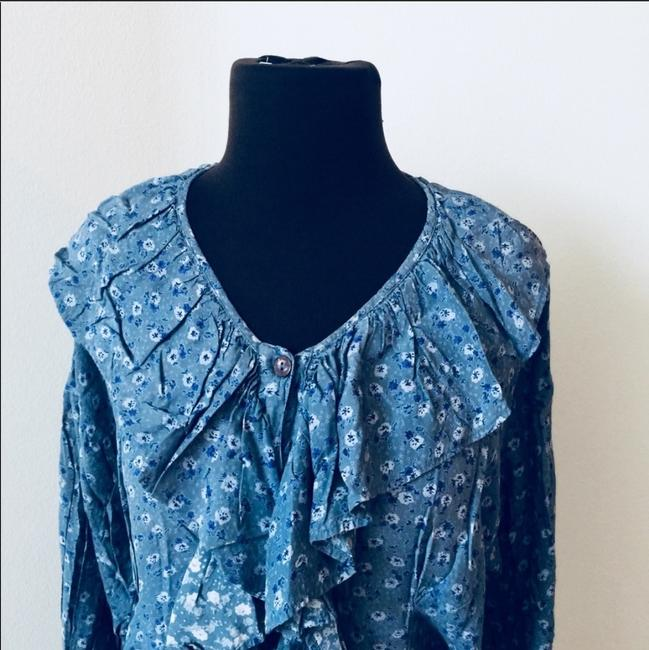 Nordstrom Boho Bohemian New York Ruffle Button Down Shirt blue Image 1