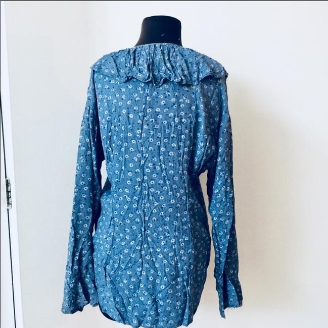 Nordstrom Boho Bohemian New York Ruffle Button Down Shirt blue Image 2