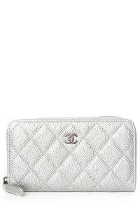 Chanel CHANEL Silver Quilted Caviar Leather Wallet