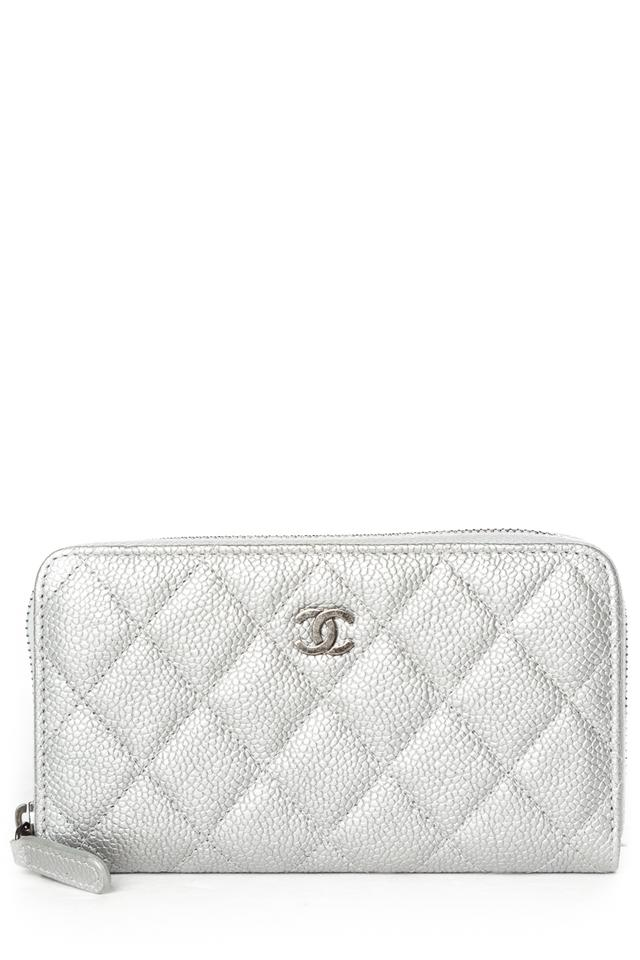 f6ffb35c16d7 Chanel CHANEL Silver Quilted Caviar Leather Wallet Image 0 ...