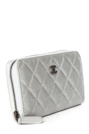 Chanel CHANEL Silver Quilted Caviar Leather Wallet Image 1