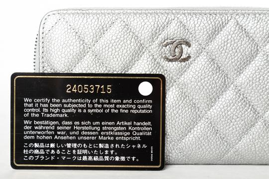 Chanel CHANEL Silver Quilted Caviar Leather Wallet Image 10