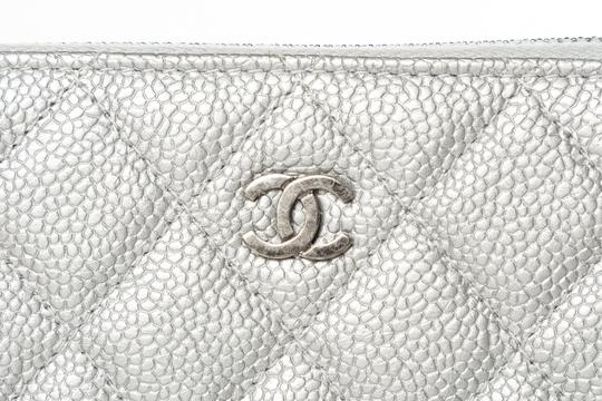 Chanel CHANEL Silver Quilted Caviar Leather Wallet Image 6