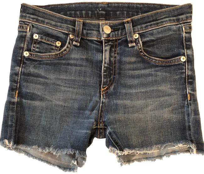 Rag & Bone Frayed Hem Stretchy Denim Shorts-Distressed Image 1