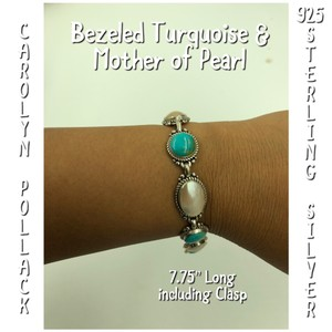 Carolyn Pollack 925 Sterling Silver Mother of Pearl & Turquoise Bracelet