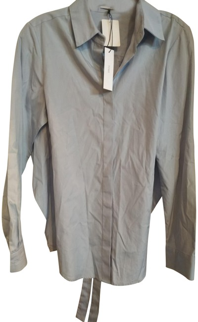 Item - Blue Shirt with Open Tied Back Button-down Top Size 4 (S)