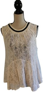 Free People Sleeveless Lace Flowy Cut-out Top Cream with Black Trim