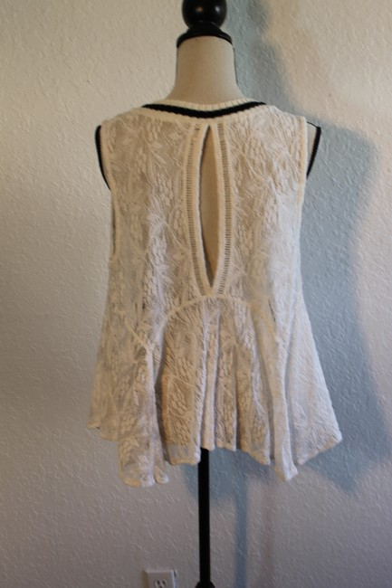 Free People Sleeveless Lace Flowy Cut-out Top Cream with Black Trim Image 1