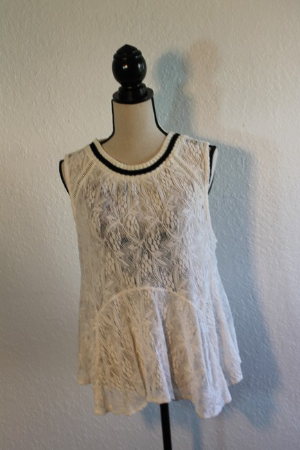 Free People Sleeveless Lace Flowy Cut-out Top Cream with Black Trim Image 2