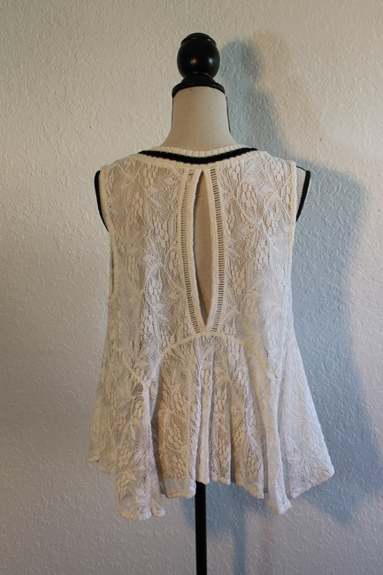 Free People Sleeveless Lace Flowy Cut-out Top Cream with Black Trim Image 3
