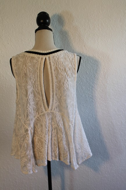 Free People Sleeveless Lace Flowy Cut-out Top Cream with Black Trim Image 4