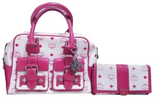 MCM Satchel in Pink, white