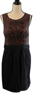 Leifnotes Corduroy Pleated Embroidered Sleeveless Dress