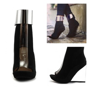 Jeffrey Campbell Black with Silver Cuff Wedges