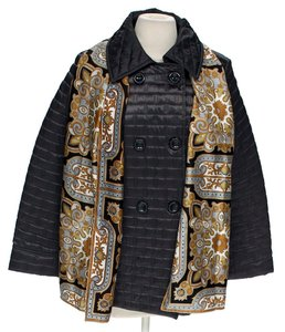 Apt. 9 Scarf Quilted Quilted Coat Puffer dark grey black Jacket
