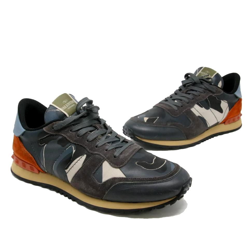 fb8cd850c2d3 Valentino Navy Blue Grey Camouflage Print Canvas Rockrunner Men s Suede  Sneakers