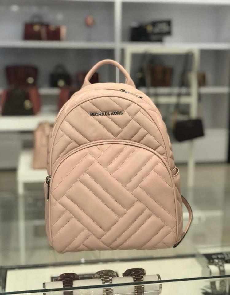 3325856f784f Michael Kors Abbey Medium Quilted Rhea Pink Leather Backpack - Tradesy