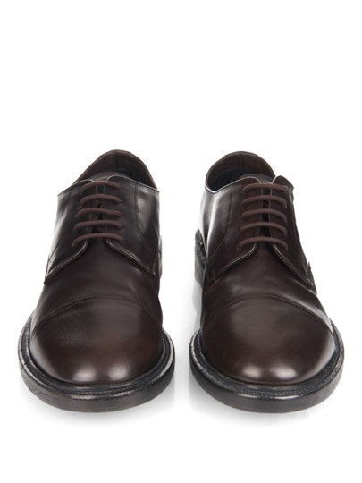 Burberry Prorsum Brown Redworths Dark Leather Lace Up Derby Oxfords 43 10 Italy Shoes Image 2