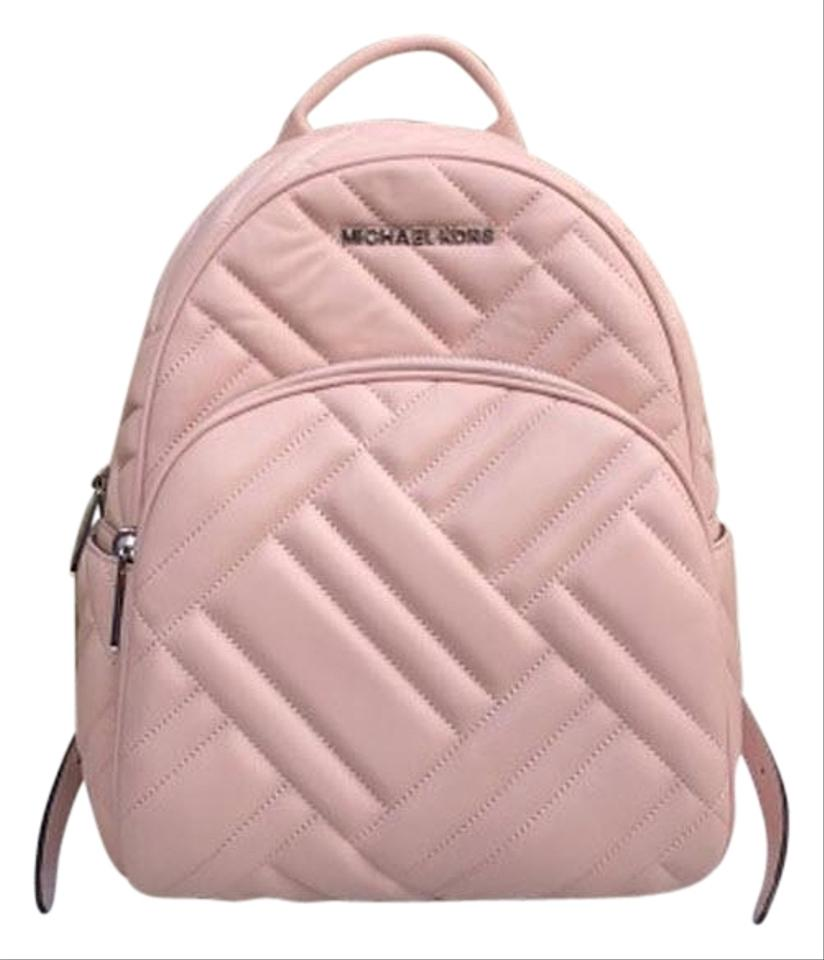 3acf2c2a9f4c16 Michael Kors Abbey Medium Quilted Rhea Pink Leather Backpack - Tradesy