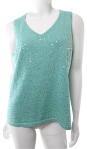 Double D Ranchwear Ranch Sequin Beaded Shell Knit Top Teal Blue