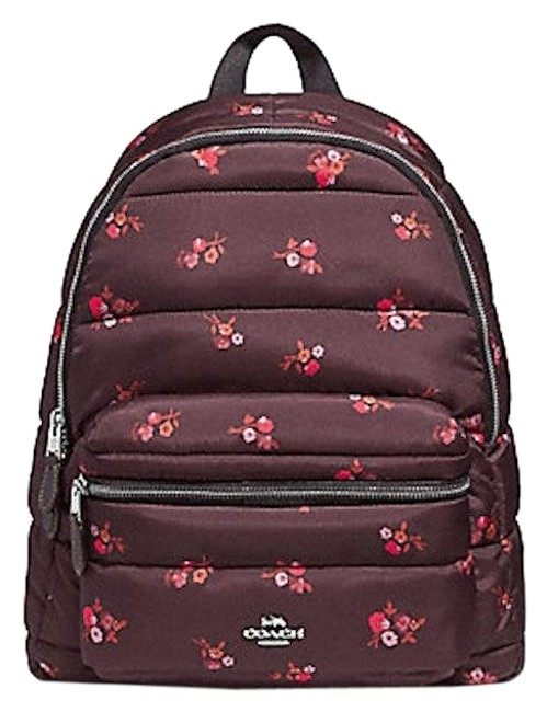 Coach Charlie With Baby Boquet Print Oxblood Multi Nylon Backpack Coach Charlie With Baby Boquet Print Oxblood Multi Nylon Backpack Image 1