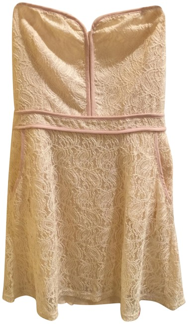 Preload https://img-static.tradesy.com/item/24125661/pins-and-needles-cream-strapless-lace-elastic-back-panel-short-casual-dress-size-12-l-0-1-650-650.jpg