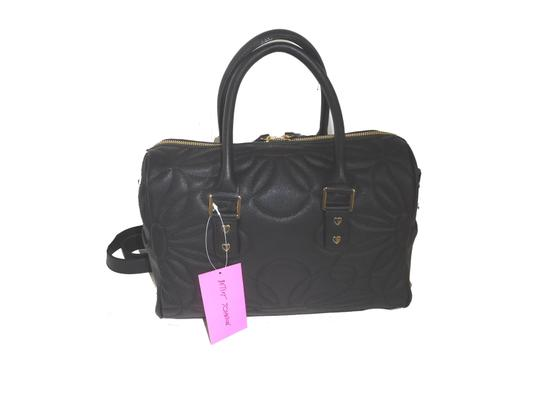 Betsey Johnson Quilted Cross Body Fabric Bow Large Satchel in black Image 1