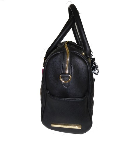 Betsey Johnson Quilted Cross Body Fabric Bow Large Satchel in black Image 2