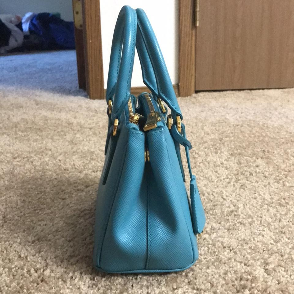 d2a7a73fb Prada Lux Mini Turquoise Saffiano Leather Cross Body Bag - Tradesy