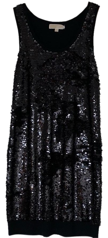 Michael Kors Black Sequin Knitted Details Short Night Out Dress Size