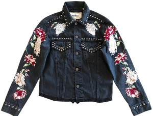 240cb7ce65 Levi s Studded Embroidered Floral Black Womens Jean Jacket