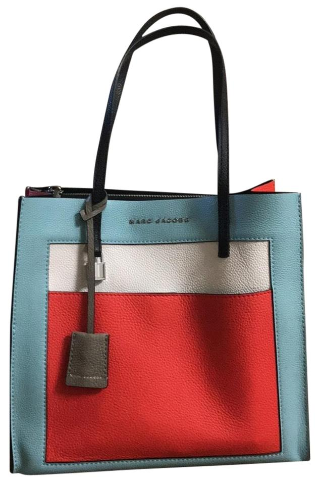 0c7972e3e Marc Jacobs Bag The Grind Shopper Blue White and Red Cowhide Leather ...