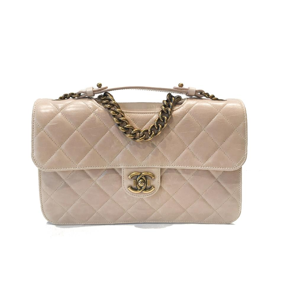 151e02c3c5a5 Chanel Classic Flap Perfect Edge Quilted Glazed Medium Nude Calfskin ...